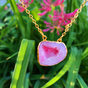 Pink Agate Geode Necklace - The Whimsy Crystal Shop