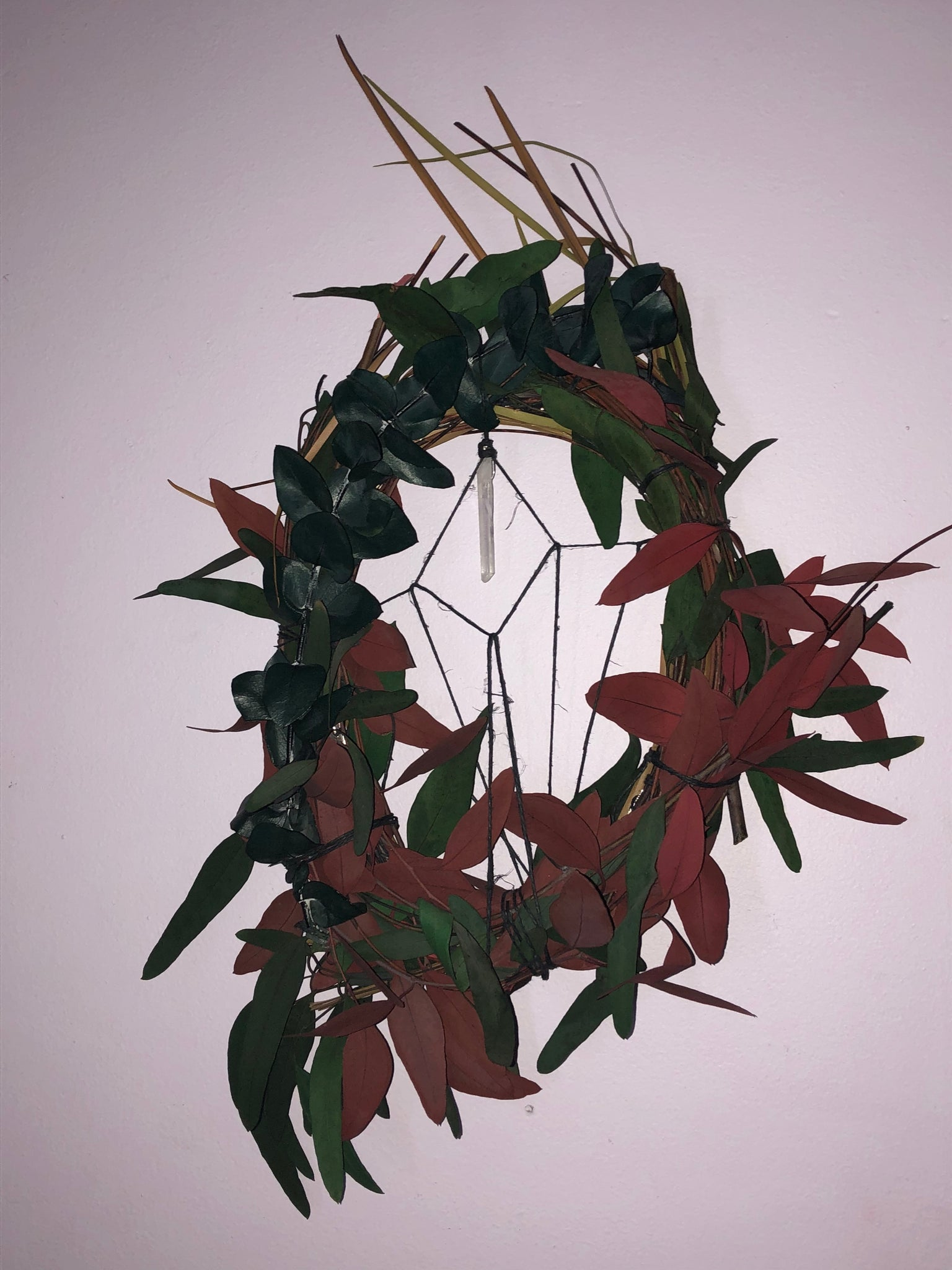 Hand Made Leaf and Twig Dream Catcher Wreath with Quartz - The Whimsy Crystal Shop