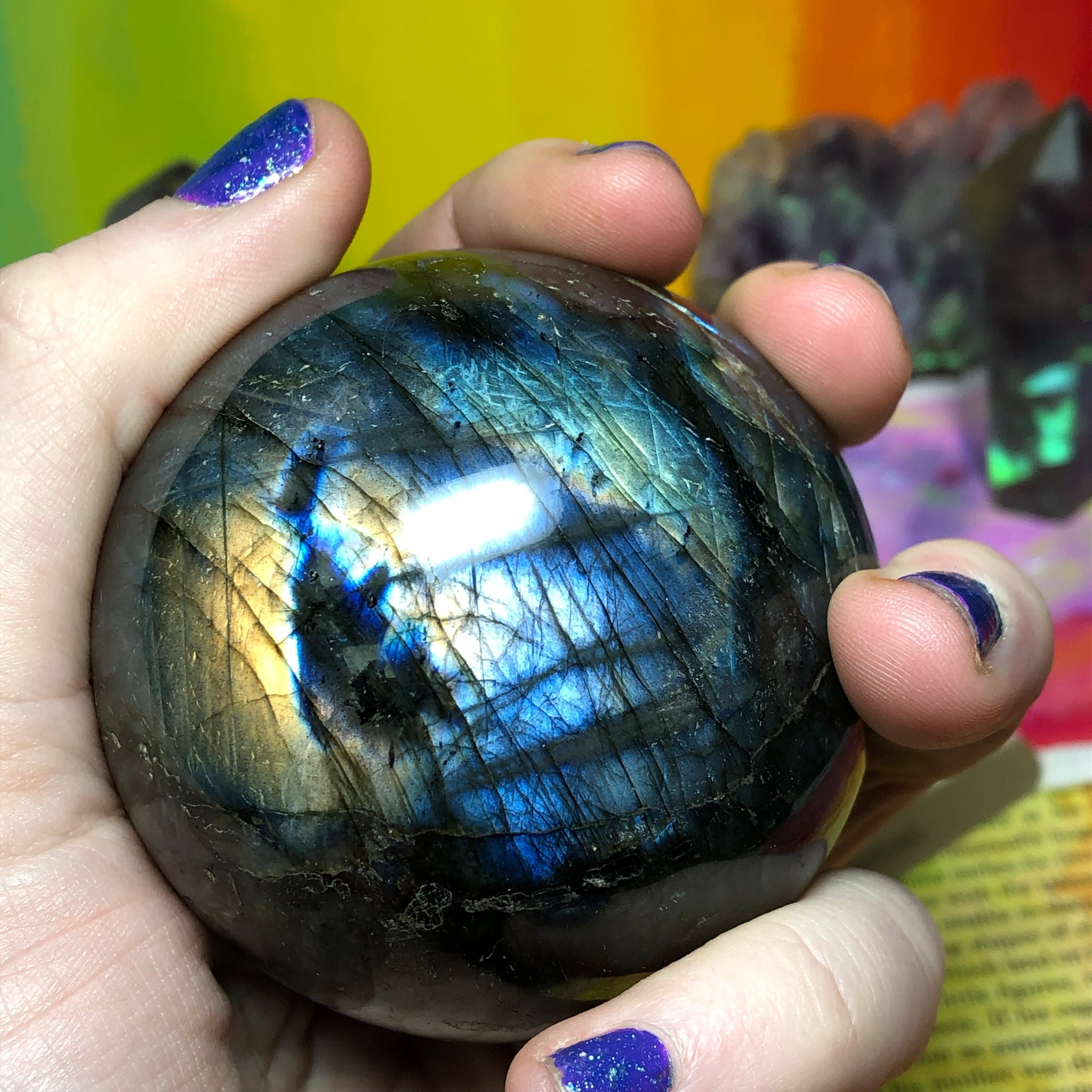 Rainbow Labradorite Sphere with Stand 403g