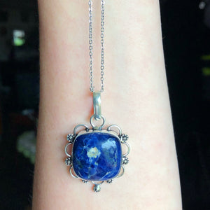 Blue Sodalite  Necklace (925 Stamped pendant) - The Whimsy Crystal Shop
