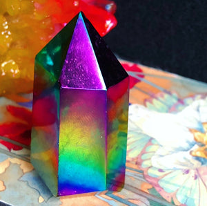 Rainbow Flame Aura Quartz Standing Wand - The Whimsy Crystal Shop