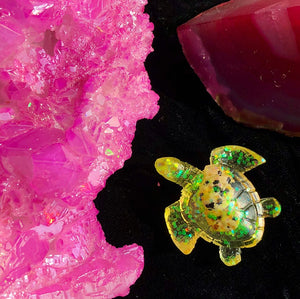 Reiki Orgone Resin Turtle with Dalmatian Stone Encapsulated- promotes concentration - The Whimsy Crystal Shop