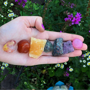 Chakra Bundle with Red Phantom Quartz, Carnelian, Yellow Calcite, Green Fluorite, Apatite, Charoite and Pink Agate - The Whimsy Crystal Shop