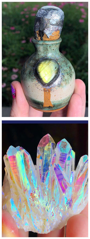 Reserved for @bolderthan Rainbow Fairy Aura Quartz Cluster - The Whimsy Crystal Shop