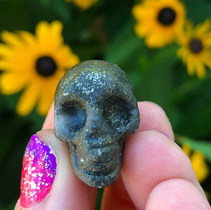 Pyrite Skull Small Lucky Trinket - The Whimsy Crystal Shop