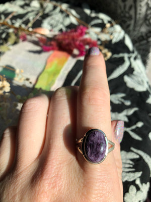 Charoite Ring Size 9.5 Sterling Silver
