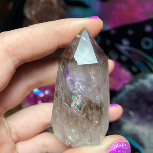 71g Smokey Quartz and Amethyst Standing Wand - The Whimsy Crystal Shop
