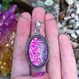 Pink Dichroic Glass Sparkle Mermaid Necklace(925 stamped) - The Whimsy Crystal Shop
