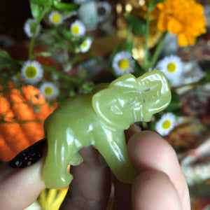 Green Jade Carved Elephant - The Whimsy Crystal Shop