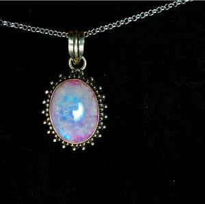 Pink Rainbow Moonstone Necklace (925 Stamped) - The Whimsy Crystal Shop