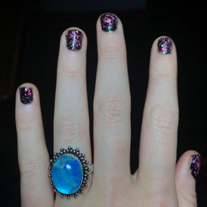 Blue Rainbow Moonstone Ring Size 7.5 Sterling Silver - The Whimsy Crystal Shop
