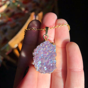 Amethyst Aura Cluster Necklace - The Whimsy Crystal Shop