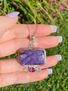 Rare purple Charoite with amethyst necklace sterling silver