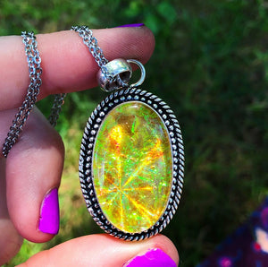 Yellow Holographic Sparkle Dichroic Glass Necklace (925 Stamped) - The Whimsy Crystal Shop