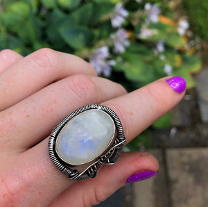 Rainbow Moonstone Wire Wrapped Ring Size 10 (925 Stamped) - The Whimsy Crystal Shop