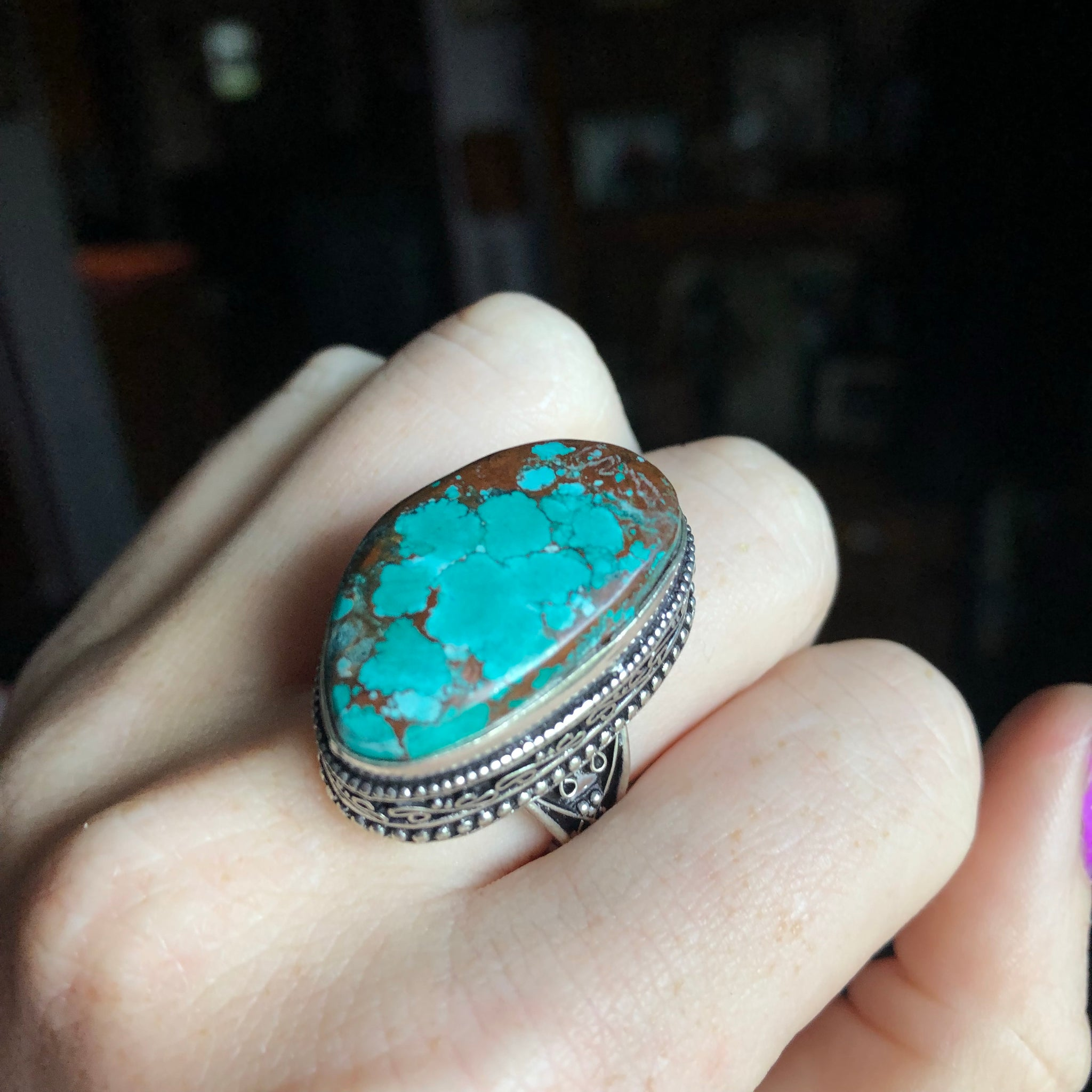 Turquoise Ring, Size 9 (.925 Stamped) - The Whimsy Crystal Shop