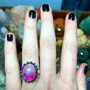 Pink Rainbow Moonstone Ring Size 7.5 Sterling Silver