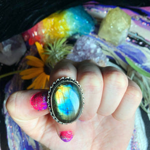 Rainbow Labradorite Ring, Size 8.5(925 Stamped) - The Whimsy Crystal Shop