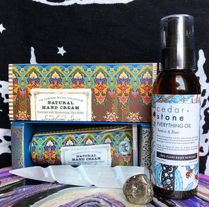 Beauty Bundle! With Natural Sandalwood Spice Hand Cream, Arnica&Rose Everything Oil, Selenite Unicorn Horn Wand & Pyrite Tumbled Stone (All Brand New) - The Whimsy Crystal Shop