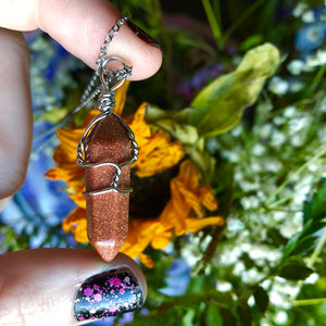 Goldstone Point Necklace - The Whimsy Crystal Shop