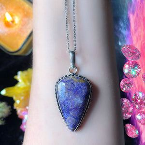 Purple Fossil Coral Necklace (925 Stamped Pendant) - The Whimsy Crystal Shop