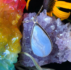 Blue Lace Agate Choker (14in) - The Whimsy Crystal Shop