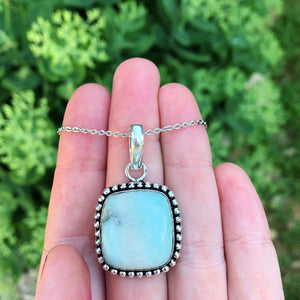 Larimar Square Stone Necklace(925 stamped) - The Whimsy Crystal Shop