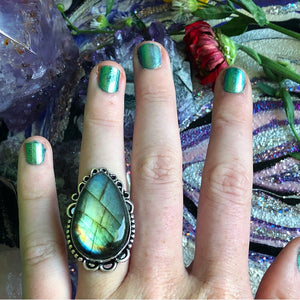 Rainbow Labradorite Ring, Size 7 (925 Stamped) - The Whimsy Crystal Shop
