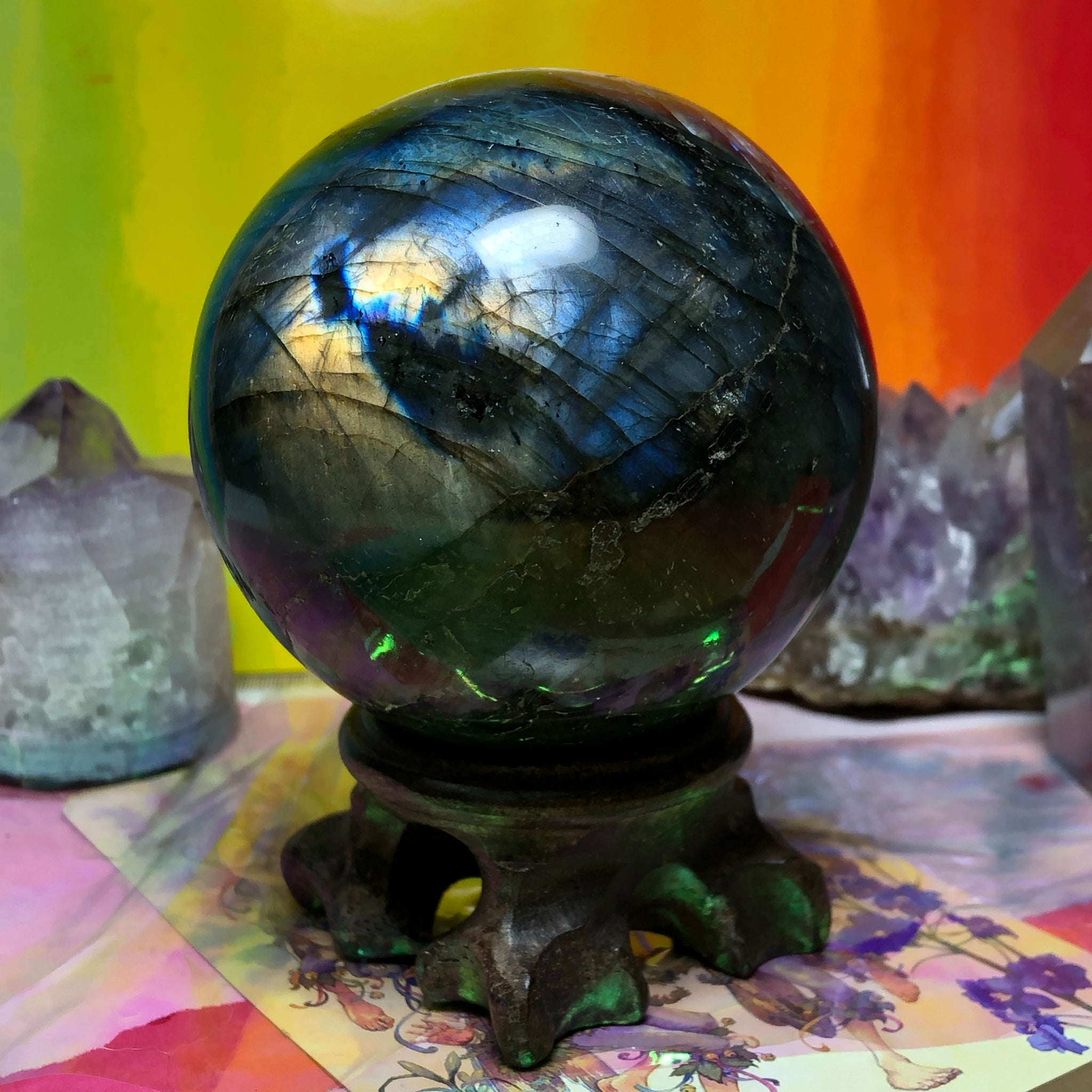 Rainbow Labradorite Sphere with Stand 403g - The Whimsy Crystal Shop