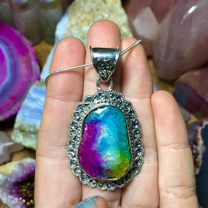 Rainbow Solar Quartz Necklace Sterling Silver - The Whimsy Crystal Shop