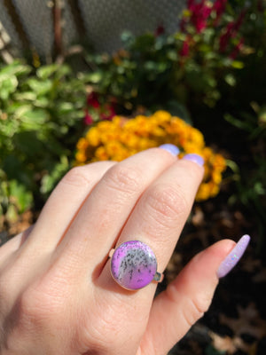 Purple dendritic opal ring size 8.75 sterling silver