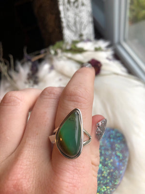 Chrysoprase ring size 8 sterling silver