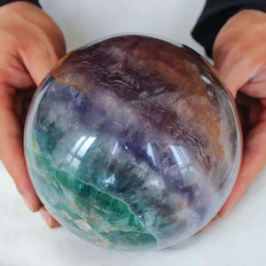 8.2LB XL Rainbow Purple and Teal Fluorite Sphere 5.1in diameter