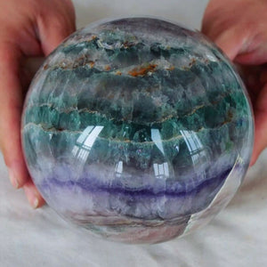 8.7LB XL Rainbow Green and Purple Fluorite Sphere 5.3 inch diameter - The Whimsy Crystal Shop