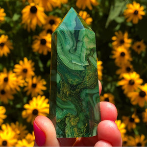 Green Agate Standing Wand - The Whimsy Crystal Shop
