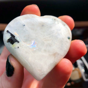 Rainbow Moonstone Polished Heart Palmstone