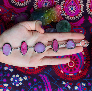 Pink Druzy Quartz Bracelet (925 Stamped) - The Whimsy Crystal Shop