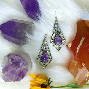 Reserved for @vampvoluptuous Amethyst Drop Earrings - The Whimsy Crystal Shop