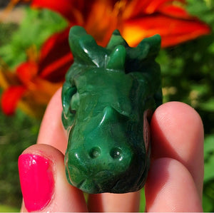 Green Agate Carved Dragon - The Whimsy Crystal Shop