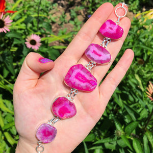 Pink Dragon Vein Agate Bracelet, 8inches (925 Stamped) - The Whimsy Crystal Shop