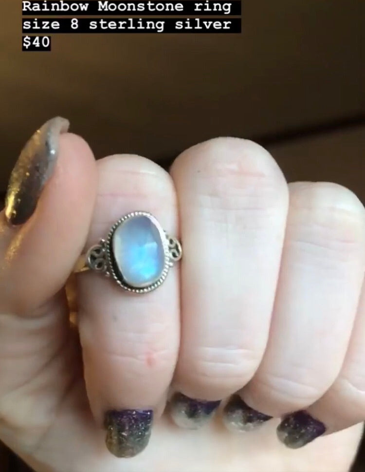 Rainbow Moonstone ring size 8 sterling silver