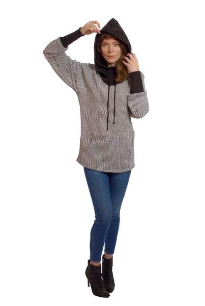 Long Cuff Hoodie with Bag Front