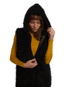 Hooded Vest with Faux Fur and Pockets