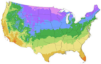 US Hardiness Zones map