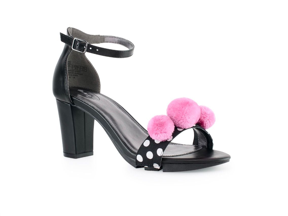 Alinio Block heel with Pink Polka dot Pom Pom shoe  accessory