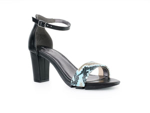 Alinio Block heel with Turquoise Python print shoe accessory