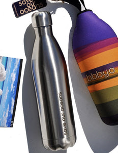 BBBYO Future Bottle + carry cover - stainless steel insulated bottle - 750 ml - Basslet print
