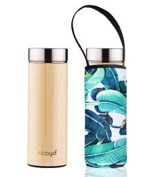 * Super Sale - Bamboo double wall thermal tea flask + carry cover - stainless steel - 500 ml - Banana leaf print