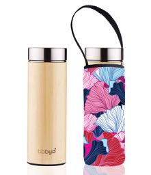 Bamboo double wall thermal tea flask + carry cover - stainless steel - 500 ml - Fan print