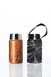 * Super Sale - BBBYO Foodie insulated lunch container + carry cover - stainless steel - 750 ml - Black Leaf print
